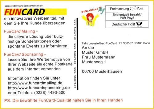 Werbefuncard der Deutschen Post AG zum FunCard Mailing und Sponsoring