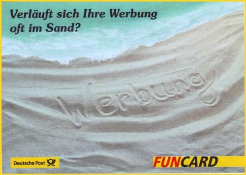 Die Bildseite dieser Funcardwerbung der Deutschen Post AG