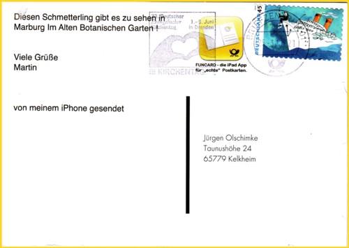 Eine neue Funcard abgeschickt von einem iphone gedruckt im Bereich des BZ 01 gestempelt 25.3.2011