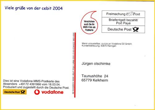 Das selbe Produkt nur hieß es hier noch MMS-Postkarte - hier von der CeBIT 2004
