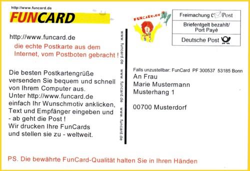 Funcard Werbung der Deutschen Post AG aus der Anfangszeit