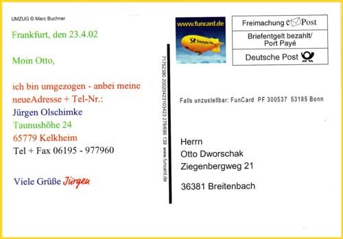 Hier sehen Sie eine klassische Funcard der Deutschen Post AG verschickt innerhalb Deutschlands mit dem kurzfristigen Logo Zeppelin vom 23.4.2002