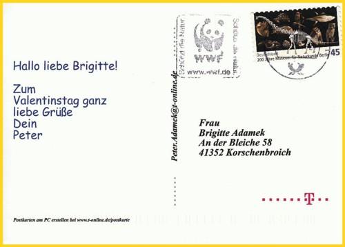 Die Anschriftenseite der Hybridpostkarte von T-Online zum Valentinstag 2011