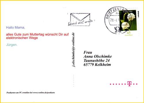 Die Anschriftenseite einer elektronisch abgeschickten Postkarte über T-Online, gestempelt im Briefzentrum 20