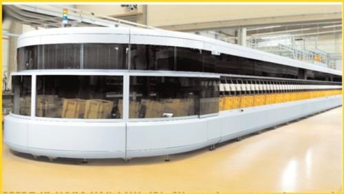 Gezeigt wird hier eine der ganz neuen Großbriefsortiermaschienen der Firma Siemens (OMS). Das Bild stammt aus dem Firmenprospekt der Firma selbst