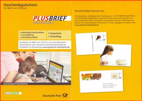 Der Produktflyer für den Plusbrief Individuell Geschenkgutschein - links die Vorderseite - rechts die Rückseite