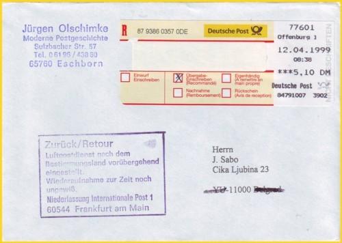 postalischer Nebenstempel (Retouren-Stempel) für den unterbrochenen Postverkehr nach Jugoslavien vom IPZ 1 - hier eine alte Version komplett in deutscher Sprache