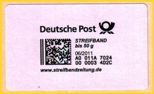 Die neue Produktmarke Streifband in der Portostufe bis 50 Gramm (55 Cent + MST) auf Trägerfolie nach Entferung des restlichen Papieres