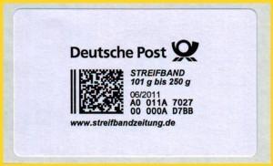 Hier die Produktmarke für die 3. Gewichtsstufe 101 Gramm bis 250 Gramm auf Trägerpapier mit Herstellungsdatum 06/2011