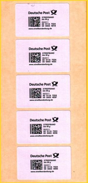 Hier ein 5er Streifen nach Entfernung des restlichen Papiers, um besser die Produktmarken selbst zeigen zu können - um den Kontrast zu erhöhen ist hier ein gelber Karton hinterlegt gewesen, daher der rötliche Schimmer