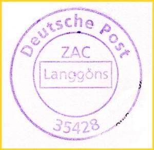 Ungewöhnlicher Briefzentrumstempel aus dem Briefzentrum 35 Giessen aus der ZAC-Stelle