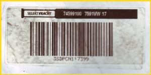 rückseitiger Strichcodeaufkleber von Selektfracht