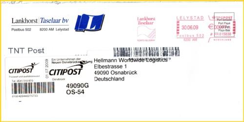 Brief aus Holland nach Deutschland - zugestellt in Deutschland über die Privatpost