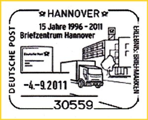 Sonderstempel 15 Jahre Briefzentrum Hannover