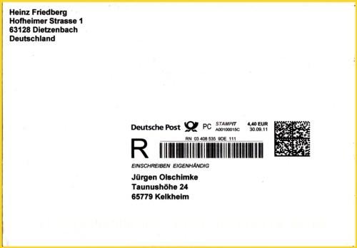 Ein Letzttagsbrief vom 30. September 2011 als Einschreiben Eigenhändig