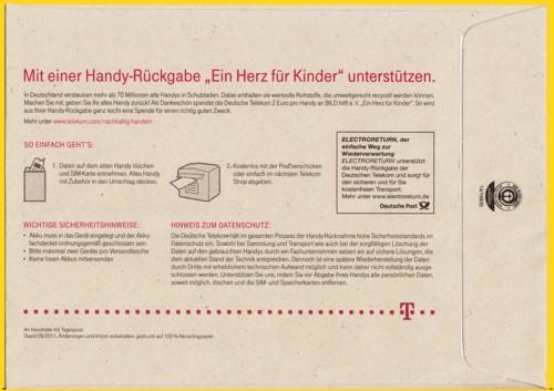 Electroreturn Umschlag der Telekom aus dem Herbst 2011 - Rückseite
