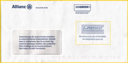 Umschlag der Firma Allianz (DV-Freimachung - daher rechts oben kein Freimachungsvermerk - der war im Fenster auf dem Schreiben) befindet sich nun hier auf der Rückseite der eingeblendete Werbevermerk zum ePostbrief der Deutschen Post - wer kennt weitere Firmen, die solche Werbung betreiben ?