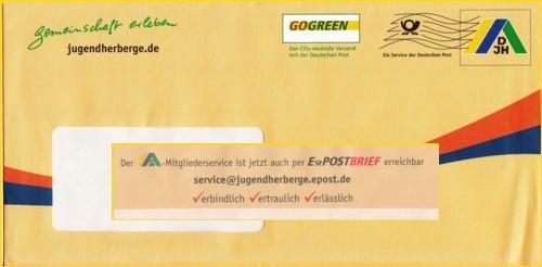 DV-Freimachung mit rückseitiger Werbung für den ePostbrief von der DJH - gefunden November 2011
