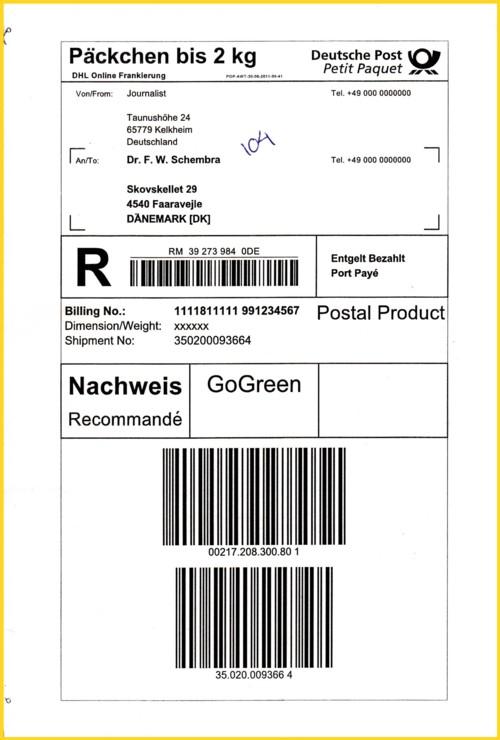 Ein Online-Päckchen mit Nachweis ins Ausland in Form eines Einschreibe-Päckchens