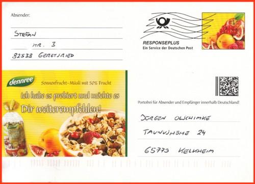 Die Vorderseite der neuen Responsepluskarte, aufgetaucht Anfang Januar 2012 in Biofachmärkten von der Firma Dennree