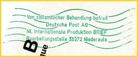 Der Nachfolger des Gummihandstempels - ein Handrollstempel, der viel stabiler und weniger verschleißbar ist, als ein Handgummistempel und auch schneller einsetzbar wird seit .... in Niederaula bei der Postverzollung eingesetzt - wer kennt Frühdaten vom Einsatz ?