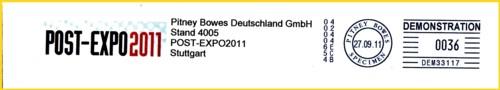 Mehrfarbiger Musterfreistempel von der Post-Expo 2011 aus Stuttgart mit der neuen Serie Connet+TM