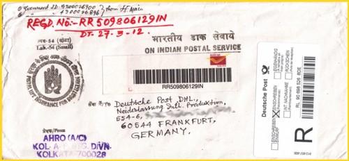 Einschreibpostsache aus Indien auch aus dem April 2012 noch mit dem alten Einschreiblabel mit eingedruckten Kreuz erfaßt