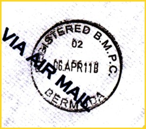 Briefzentrumsstempel aus Bermuda