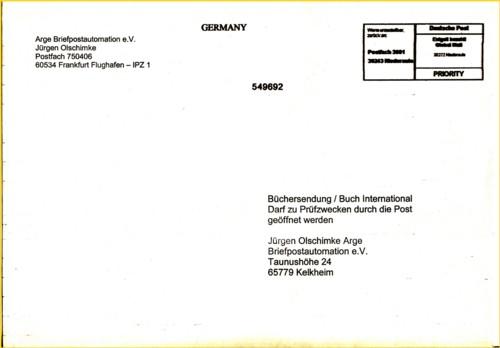 Rundbriefversand Rundbrief 02/2012 - Besonderheit hier Frankierung durch Mixmailsorter von Global Mail (IPZ 1)