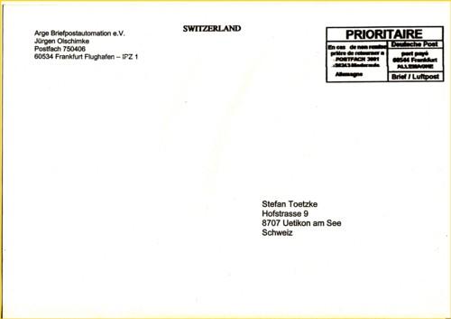 Rundbriefversand Rundbrief 02/2012 - Besonderheit hier Frankierung durch Mixmailsorter von Global Mail (IPZ 1) - hier allerdings die Auslandsfreimachungsvariante