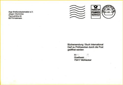 Rundbriefversand Rundbrief 01/2012 - Besonderheit hier Frankierservice Briefzentrum 62 (IPZ 1)