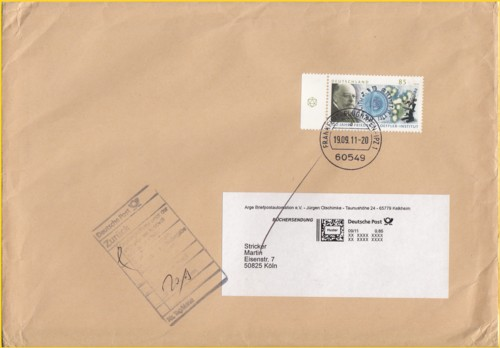 """Rundbriefversand Rundbrief 03/2011 - Besonderheiten hier Tagesstempel """"Frankfurt IPZ 1"""" sowie Adressaufkleber Muster Internetmarke"""