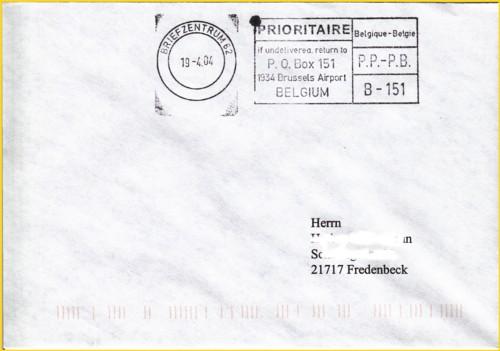 """Brief aus der Anfangszeit des neuen Mailterminals im IPZ 1 von Global Mail mit dem ungewöhnlichen Stempel """"Briefzentrum 62"""" und belgischer Freimachung - und das in einem deutschen Postgebäude mitten in Deutschland !"""