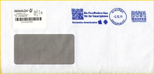 Brief eingeliefert bei PostModern in Dresden, der über den Privatpostdienstleister Märkische Post zum Empfänger geht - besonders interessant ist aber der QR-Code im Freimachungsvermerk von Postmodern, der zu einer speziellen Internetseite führt