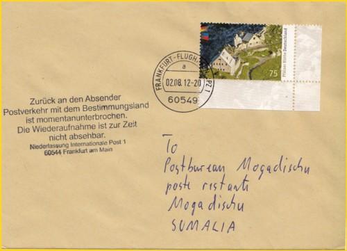 Brief nach Somalia mit neuen wieder deutschsprachigen Retourenstempel, das derzeit der Postverkehr mit dem Bestimmungsland unterbrochen ist