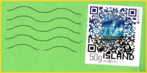 Isländische Briefmarke mit QR-Code