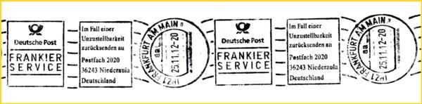 Sehr seltener Handrollstempel Frankierservice vom Mailterminal in Frankfurt im IPZ 1 hier in der Variante mit deutschen Retourenvermerk