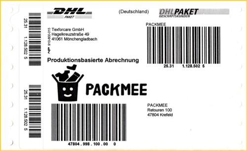"""Der an Postämtern kostenlos erhältliche Paketaufkleber für die Aktion """"Packmee"""""""
