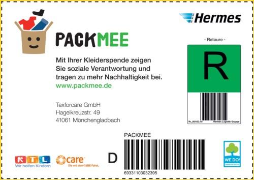 Das farbig ausdruckbare Packmee Versandettikett vom Logistikpartner Hermes