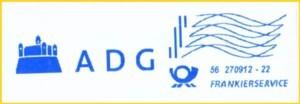 Hier ein Stempelabschlag aus der Versuchszeit vom 27. September 2012 vom BZ 56 mit dem Pilotkunden ADG