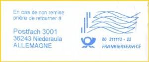 Zum Schluß noch ein ungewöhnlicher Abschlag aus den ersten Tagen hier vom BZ 80 - statt einer Firmenwerbung befindet sich im Werbeteil eine Vorausverfügung für das Ausland mit einer Retourenadresse für das IPZ 2 in Niederaula