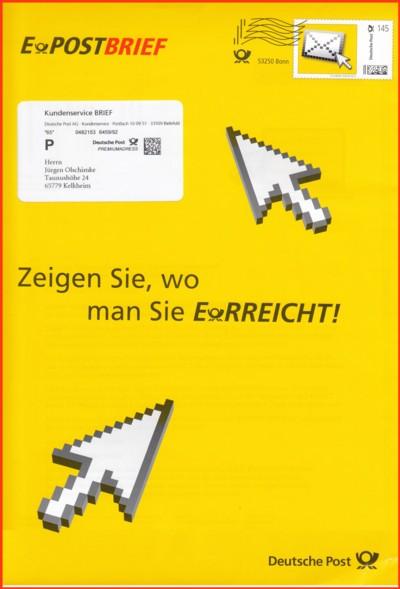 Der stark verkleinerte Werbeumschlag zum ePostbrief, der wenige Tage vor Weihnachten 2012 verschickt wurde