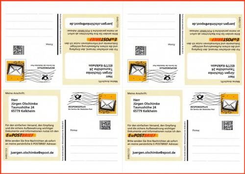 Die Freimachungsseite eines der beiden Postkartenbogen, freigemacht in Form Responseplus mit Postmatrixcode