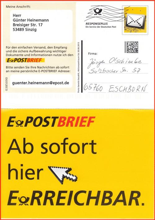 Hier sehen Sie eine echt gelaufene Postkarte mit der Anschriftenseite und mit der rückseitigen Werbung für den ePostbrief