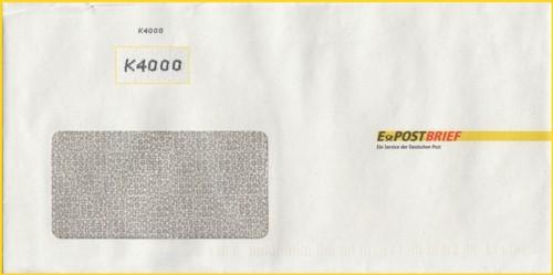 Ein ePostbrief in Hybridform ohne Gogreen-Eindruck, dafür aber mit K-4000 Nummer in schwarz aufgespritzt (Williams Lea Inhouse Solution GmbH)