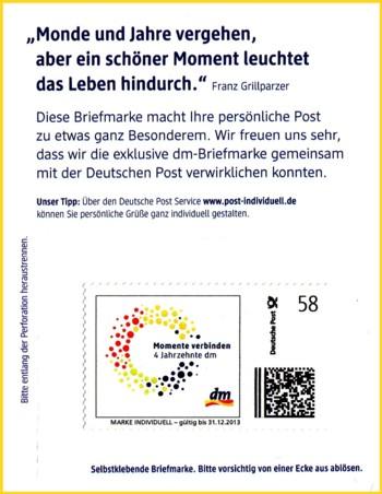 Ausschnitt aus der Werbekarte von dm mit der neuen Marke individuell mit Verfallsdatum 31.12.2013 und den anderen Postmatrixcode