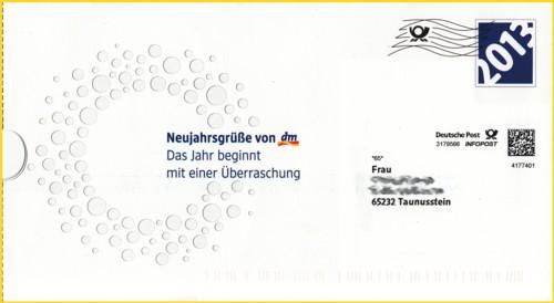Die Vorderseite der Infopostsendung von dm zum 40 Jährigen Jubiläum
