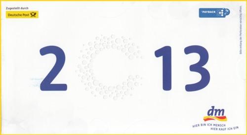 Die Rückseite der Infopostsendung von dm zum 40 Jährigen Jubiläum mit Posteigenwerbung