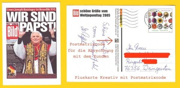 Eine der ersten Pluskarten mit Matrixcode, die der Abrechnung des Portos diente