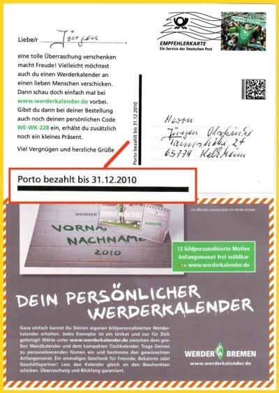 Die erste bekannte Empfehlerkarte mit Verfallsdatum